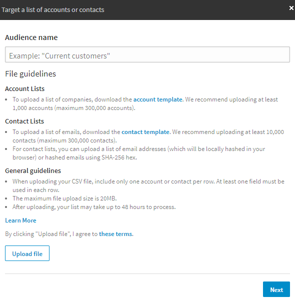 how to create a linkedin matched audiences campaign