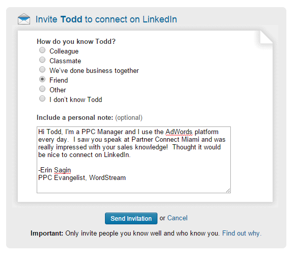 linkedin request that is impossible to turn down