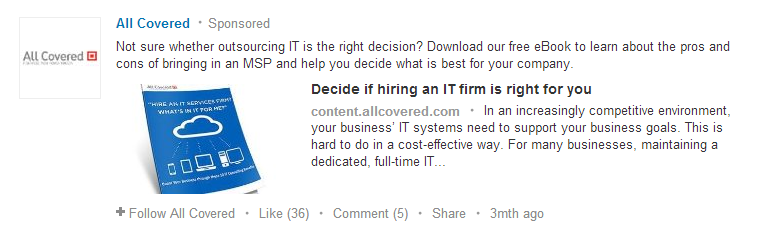 linkedin sponsored post