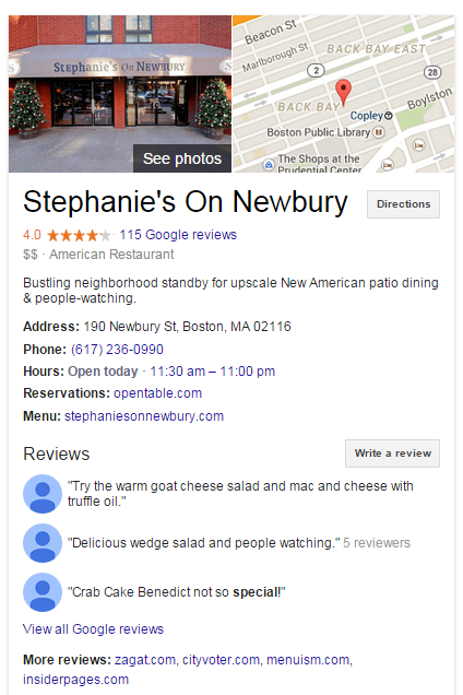 Local business marketing screenshot of Stephanie's on Newbury's Google My Business Listing