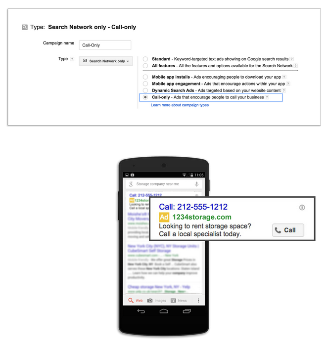 Local business marketing screenshot of setting up a Call-Only campaign in AdWords