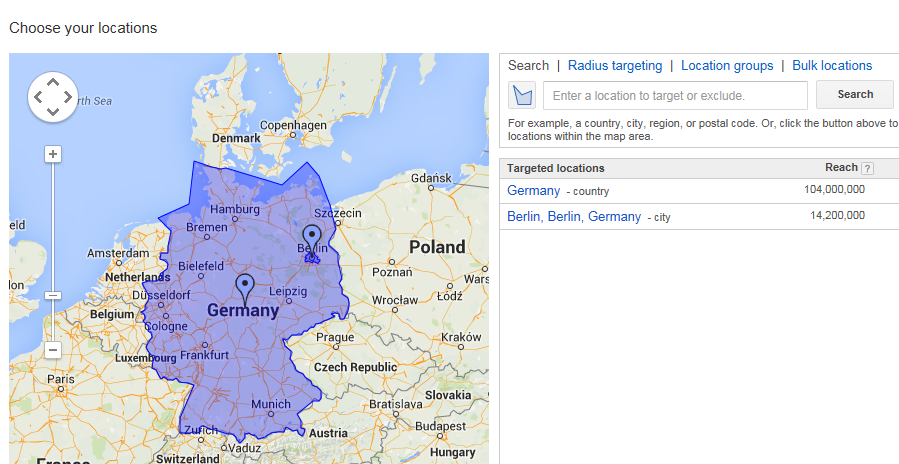 Local business marketing screenshot fromg AdWords advanced locations tab where you can target by radius