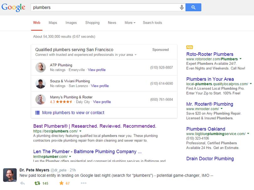 local plumber ad on google