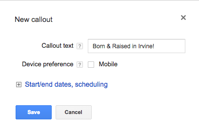 Local PPC tips use callout extensions