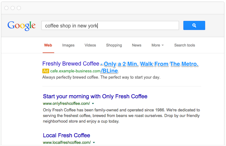 Local PPC tips improved local coffee shop ad