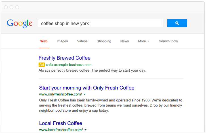 Local PPC tips coffee shop ad