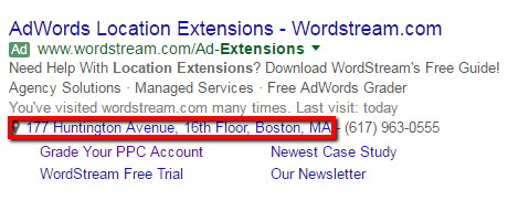 location extension adwords ad