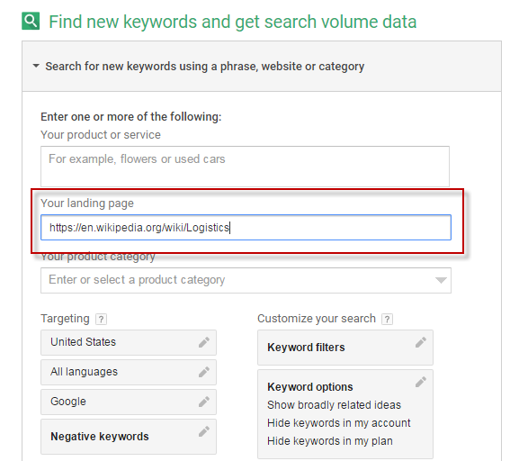 Keyword Planner research tips use Wikipedia to identify topic ideas