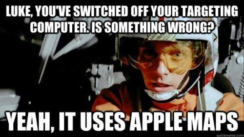 Luke Skywalker Apple Maps burn