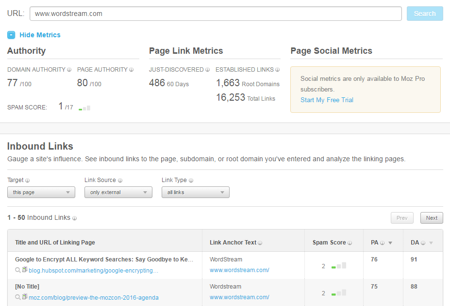 Marketing analysis tools Moz Open Site Explorer