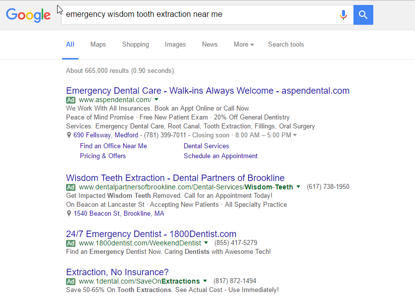 Emergency keywords for Dentists