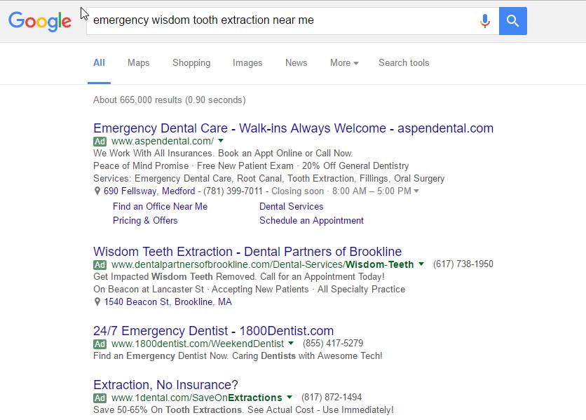 Emergency keywords for Dentists