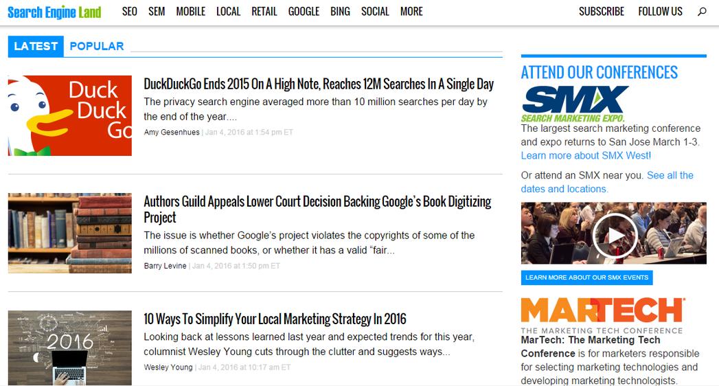 Marketing news Search Engine Land