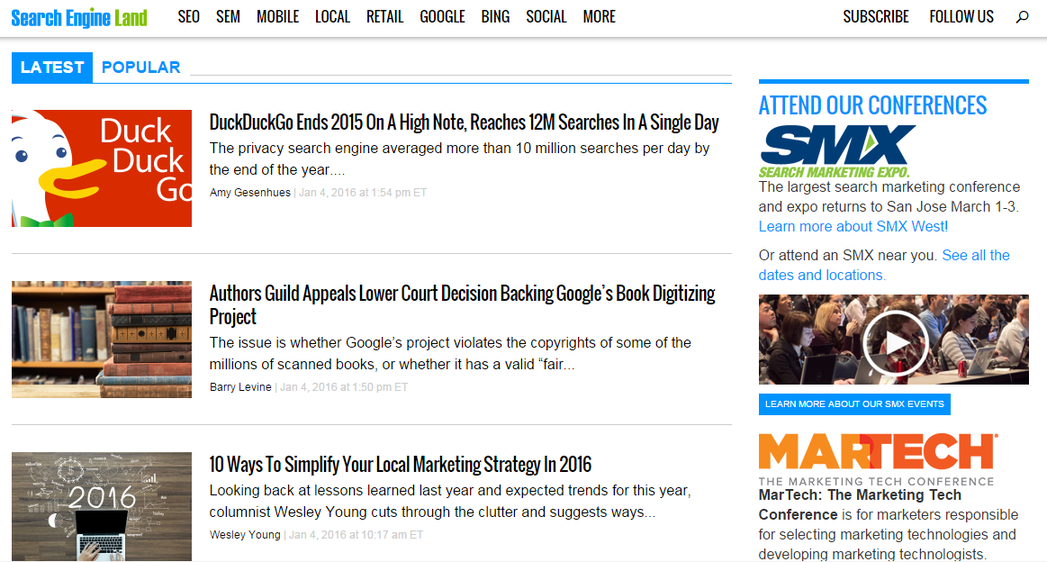 Marketing news Search Engine Land