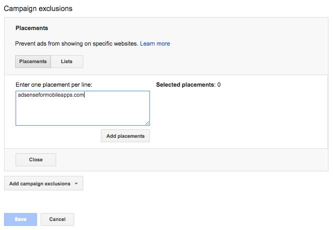 Marketing personalization screenshot of placements