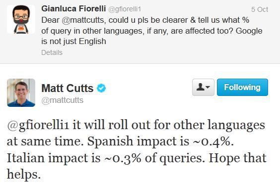Matt Cutts answers webmaster questions on Google update.