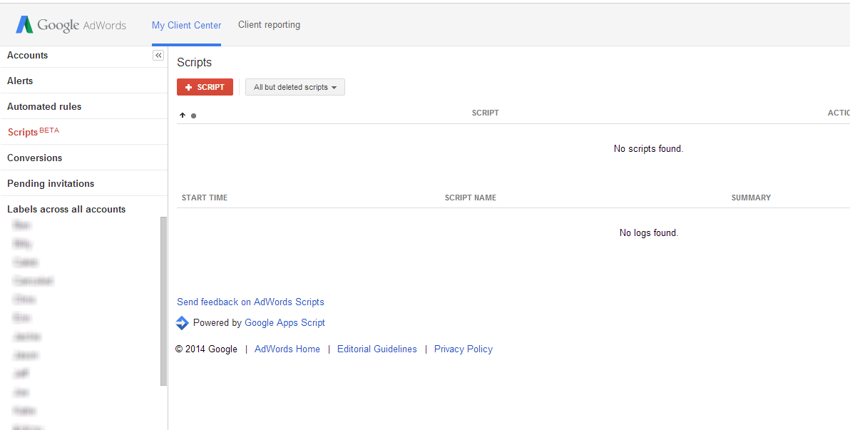 AdWords Scripts for My Client Center