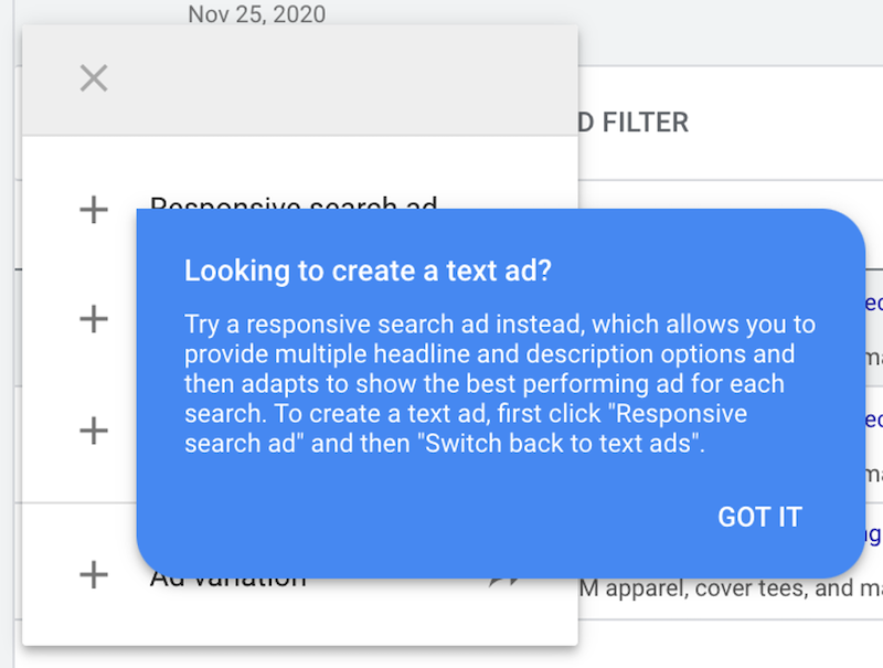 2020 year in review for ppc google hides text options