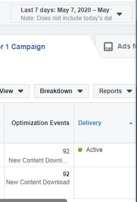 Facebook optimization events