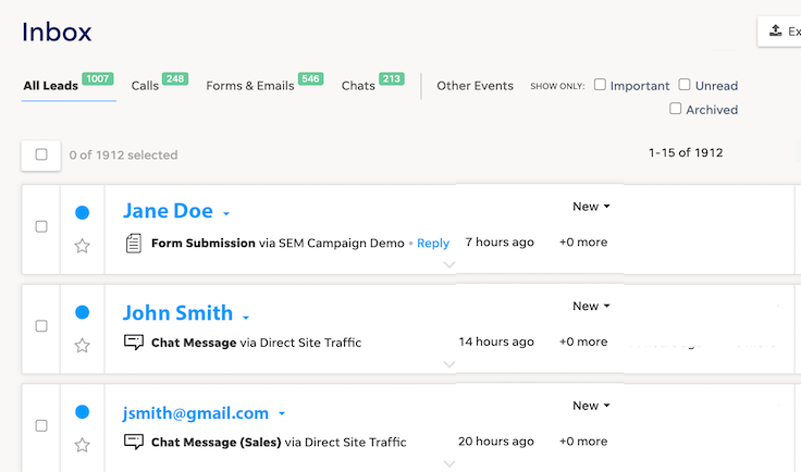LOCALiQ CRM inbox screenshot