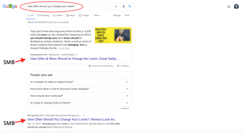 SMB SEO strategies during COVID-19 good SEO example