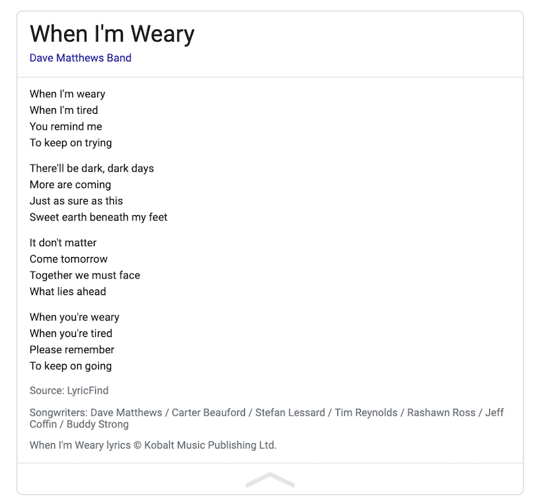 When i'm weary DMB