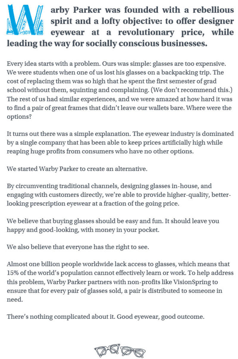 warby parker about us page guide