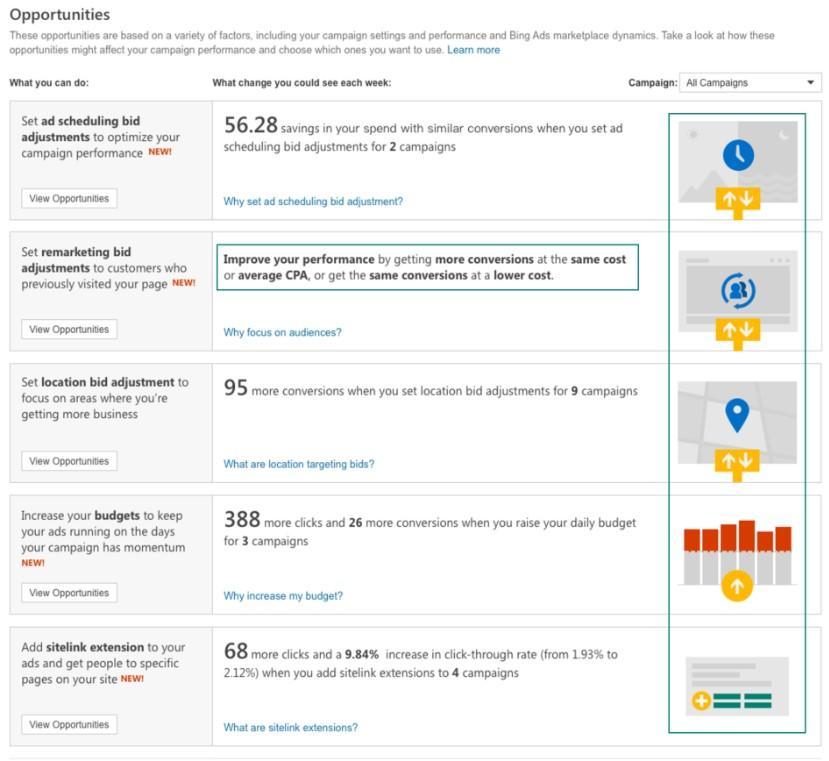 ejemplo de pestaña de oportunidad de Bing de automatización de anuncios