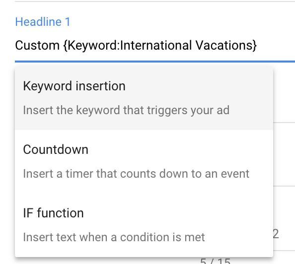 inserción de palabras clave de automatización de anuncios
