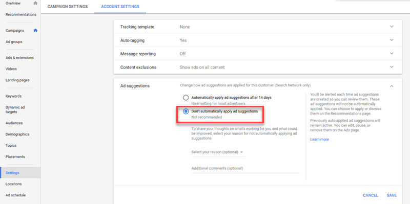 adwords ad suggestion account level opt out
