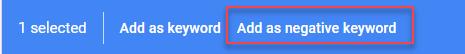 add negative keywords in adwords