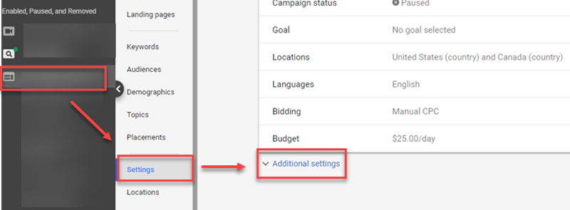 additional settings google ads campaign