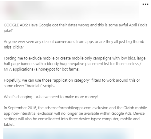 response to google change to adsenseformobileapps placement
