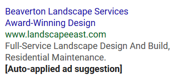 adwords ad suggestion auto application