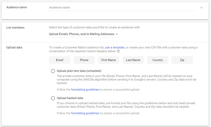 adwords custom audiences gdpr