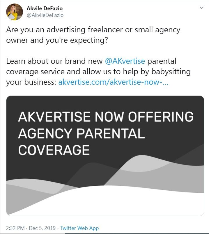Akvile's tweet about new service offering