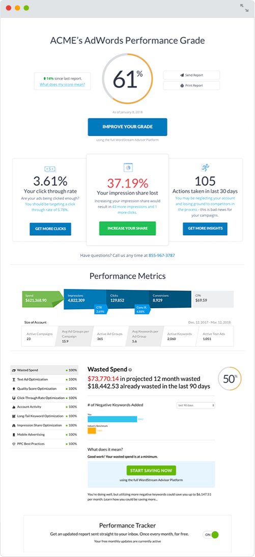 agency new business center google ads performance grader report