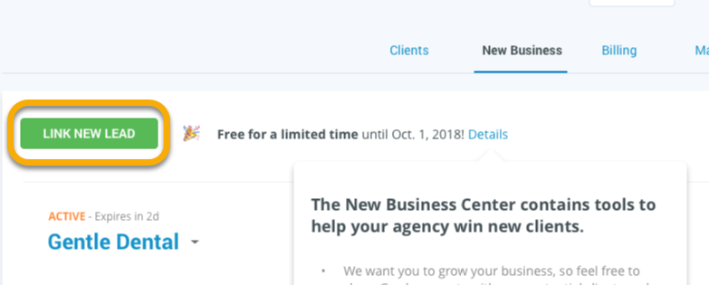 agency new business center link new lead