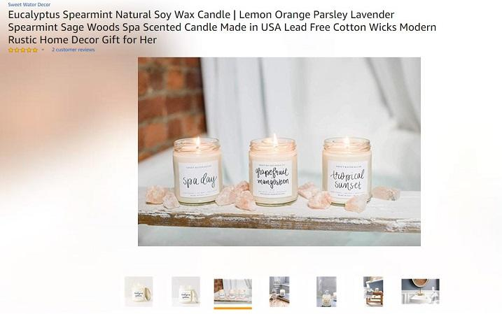 Amazon product page candle example