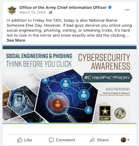 august marketing ideas—blame someone else day social media post on cybersecurity