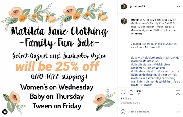 august marketing ideas—family fun sale for clothing on instagram
