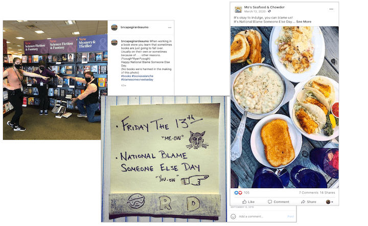 august marketing ideas—national blame someone else day social media posts