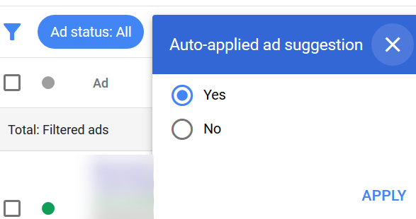 auto apply ad suggestions new adwords experience radio button