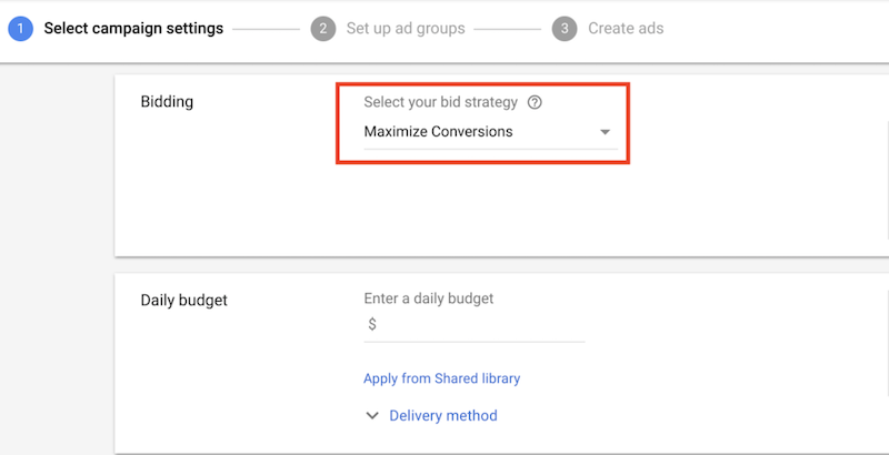 google automated bidding-maximize conversions