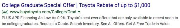automotive marketing search ad for college grads