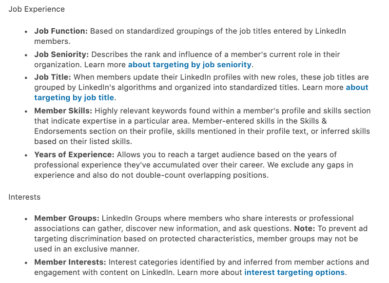 more LinkedIn targeting options