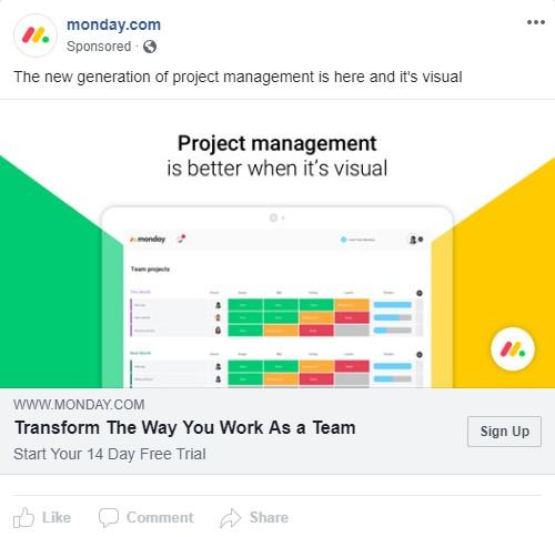 B2B facebook ad for monday.com