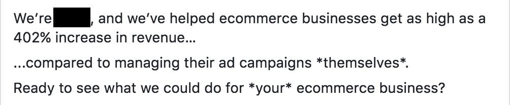 using proof in B2B Facebook ads