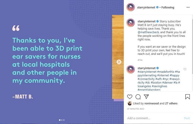 Starry Internet Instagram example