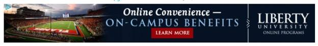 banner ad example from Liberty University